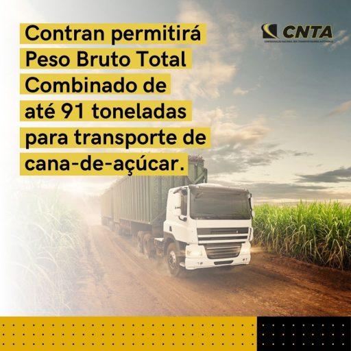 Contran permitirá Peso Bruto Total Combinado de até 91 toneladas para transporte de cana-de-açúcar.